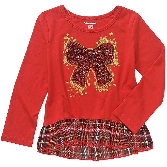 garanimals toddler girl long sleeve festive christmas holiday shirtred5