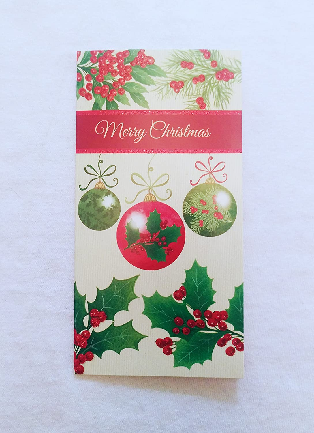 Christmas Money or Gift Card Holder Cards - Set of 8 with Metallic/Glitter Accents (Holly Jolly) Christmas House
