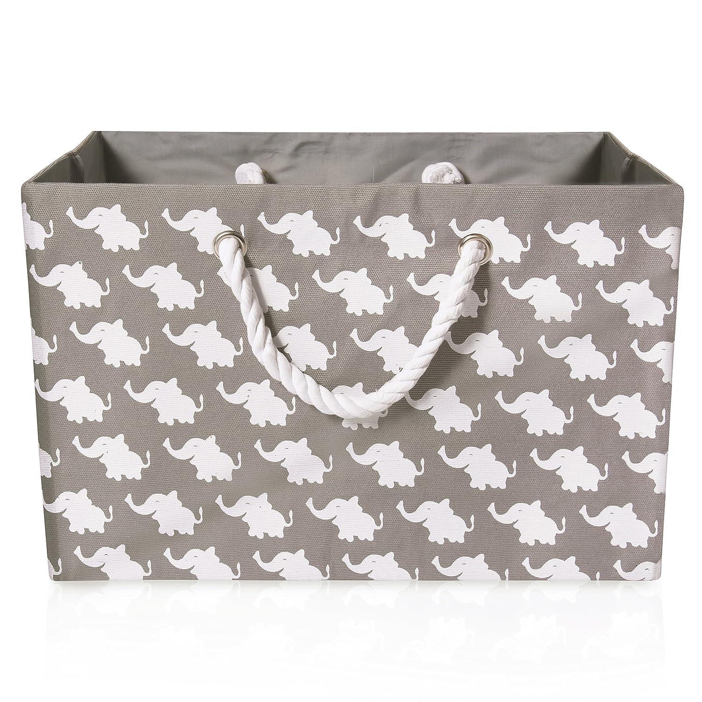 Pieghevoli grigio tela cesto portaoggetti–Tessuto di alta qualità rettangolo cestino bianco con elefanti–perfetto per uso domestico, tessuti o giocattoli. Dimensioni: 40cms x 30cms x 25cms