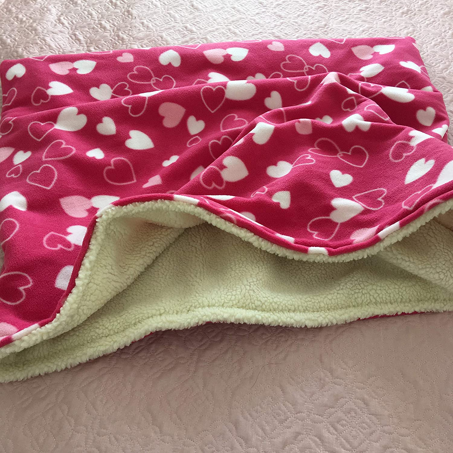 Dog Snuggle Sack//Cave Bed//Dog Bed 27x25 inches Pink Hearts