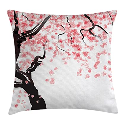 Ambesonne Floral Throw Pillow Cushion Cover, Japanese Cherry Tree Blossom in Watercolor Painting Effect, Decorative Square Accent Pillow Case, 24 X 24 ...