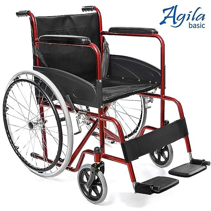 AIESI Silla de ruedas plegable ligera con auto propulsión para discapacitados y mayores AGILA BASIC ✓ Reposabrazos y reposapiés fijos ✓ Cinturon de ...