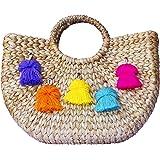 Multi Color Tassel Pom Beach Basket