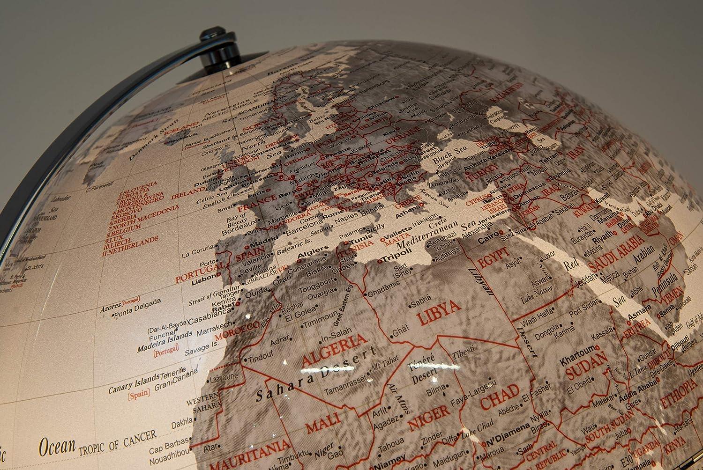 HAOLIN Carte du Monde Clair Globe en M/étal Miniature Globe Terrestre Boule Ronde Globe-pour La D/écoration De Bureau Bureau Maison,25 38CM