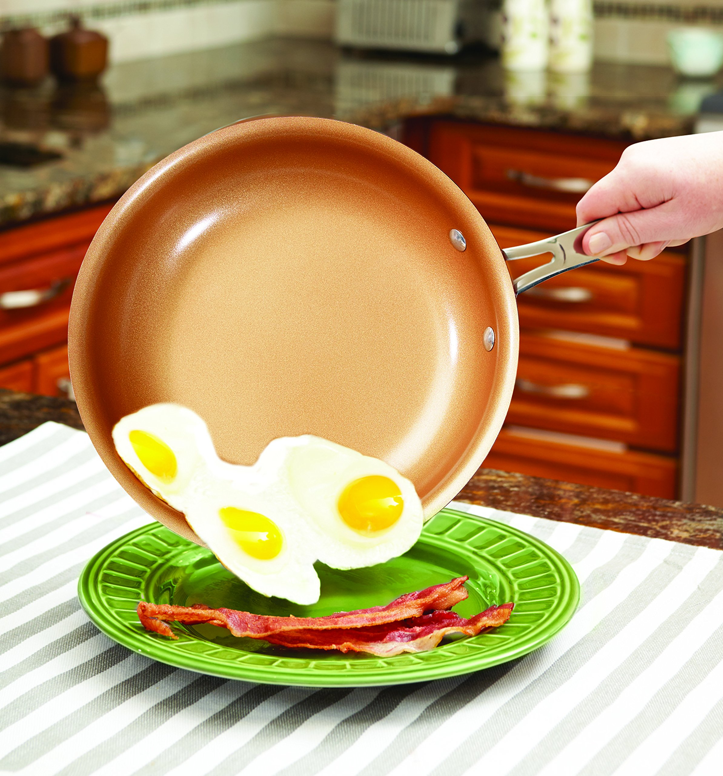 Red Copper 10 PC Copper-Infused Ceramic Non-Stick Cookware Set by BulbHead by BulbHead (Image #4)