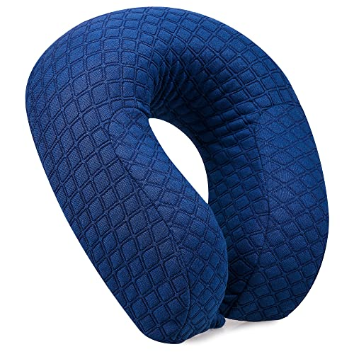 Luxury Travel Neck Pillow Memory Foam Head Support - Best Cushion with High Sides - Easy removable and washable cover - Extremely Soft and Comfy - Dark Blue - IMPROVED VERSION by Amelia