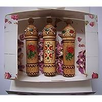 Perfume de aceite de rosa búlgaro aroma 3 viales x 2,1 ml regalo de recuerdo de madera