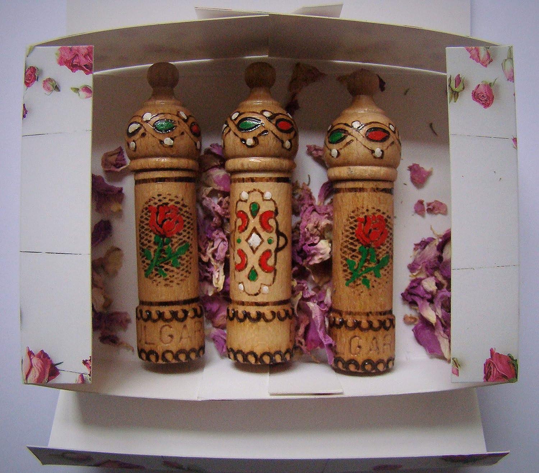 Parfüm mit Rosenöl, 3 Fläschchen x 2,1 ml Holz Souvenir Geschenk Parfüm mit Rosenöl 3 Fläschchen x 2 Lema
