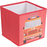 Fire Truck Collapsible Storage Organizer by Clever Creations | Firetruck Storage Box Folding Storage Ottoman for Your Bedroom | Perfect Size Storage Chest for Books, Shoes & Games