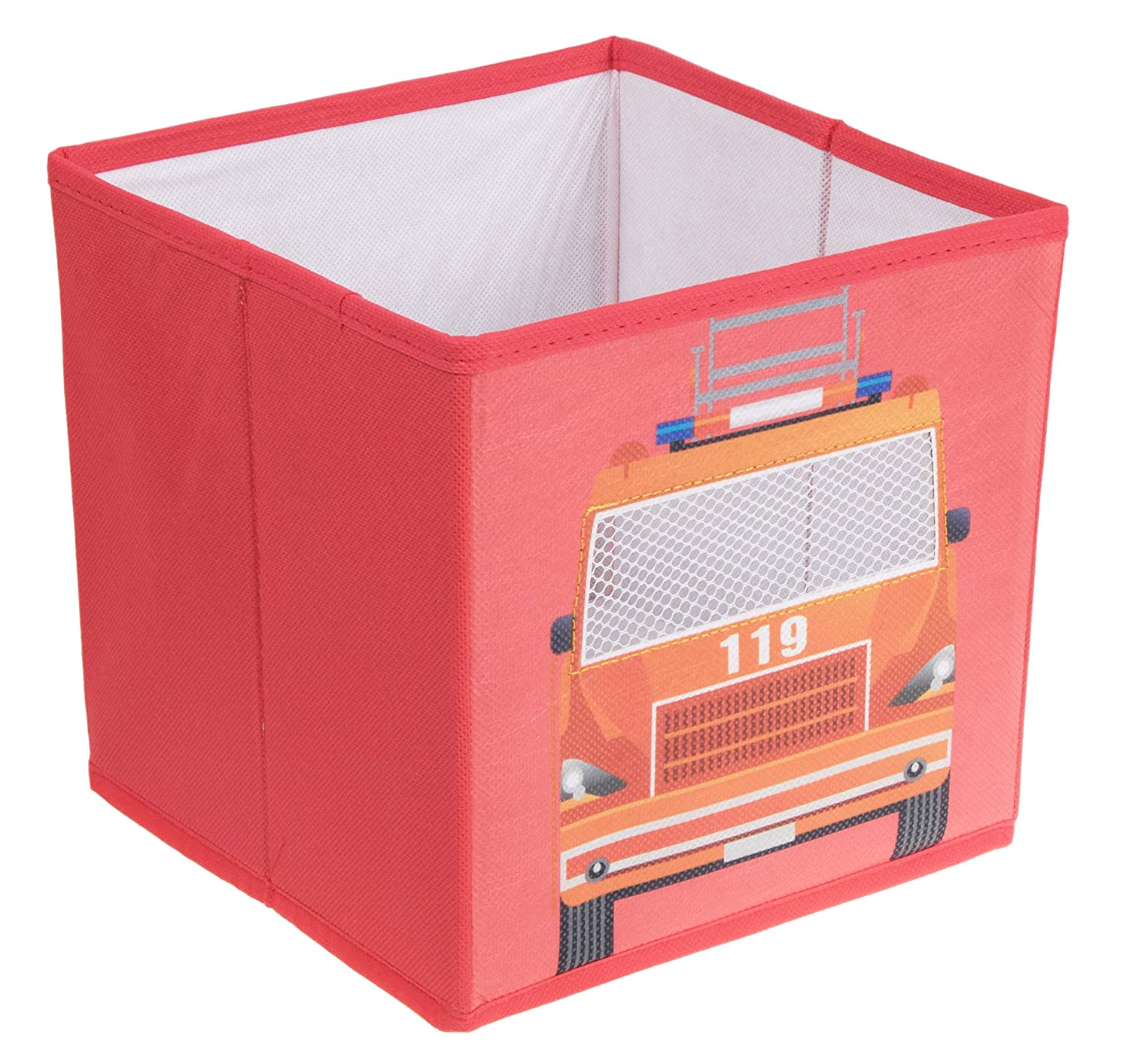 Clever Creations Fire Truck Collapsible Storage Organizer Firetruck Storage Box Folding Storage Ottoman for Your Bedroom | Perfect Size Storage Chest for Books, Shoes & Games