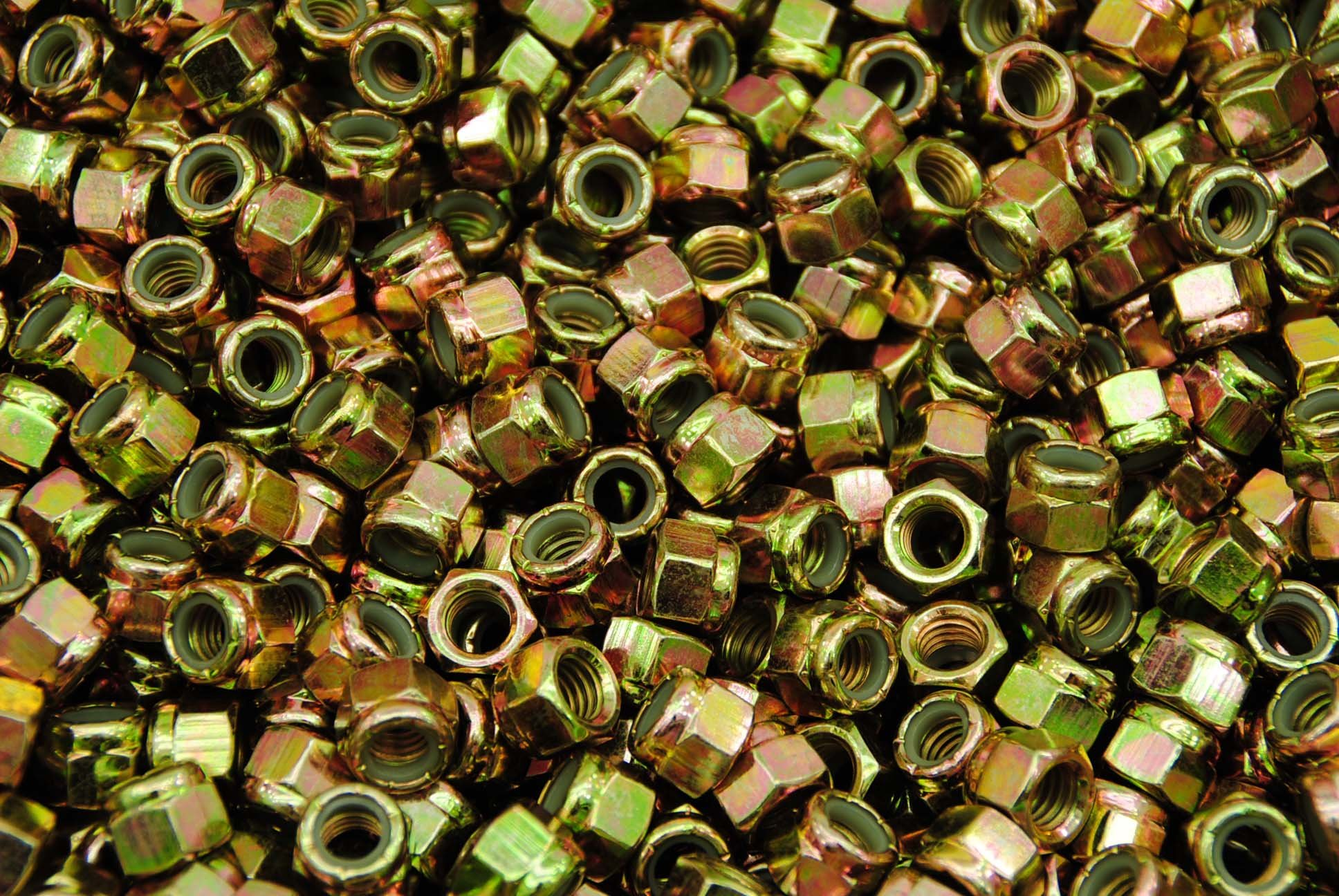 (300) Nyloc Grade 8/C Hex Locking Nuts 3/8-16 Yellow Zinc Plated Nylock