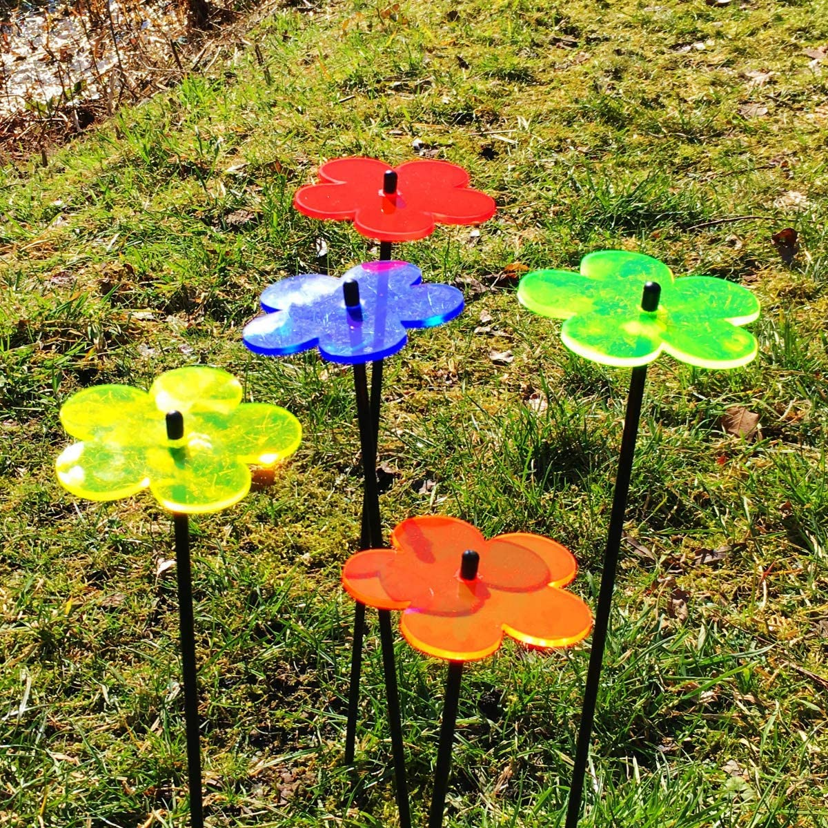 SunCatcher Set of 5: Blossom innovative Home Decor 250mm // 9,84 high fluorescent garden ornament Colour:Blue GLOWING DECORATION on stick