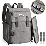 Baby Diaper Bag Momcozy Nappy Changing Backpack Multi-Functional 23L with Large Changing Mat Waterproof Travel Rucksack Changing Bag with 3 Insulated Bottle Pockets 2 Stroller Straps