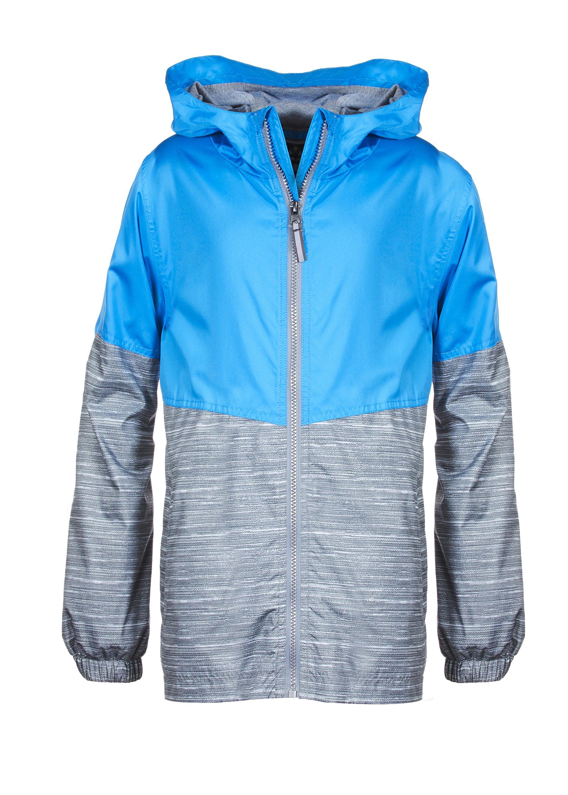 Arctic Quest Children's Colorblock Windbreaker Jacket with Jersey Lining & Hood Turquoise 10/12