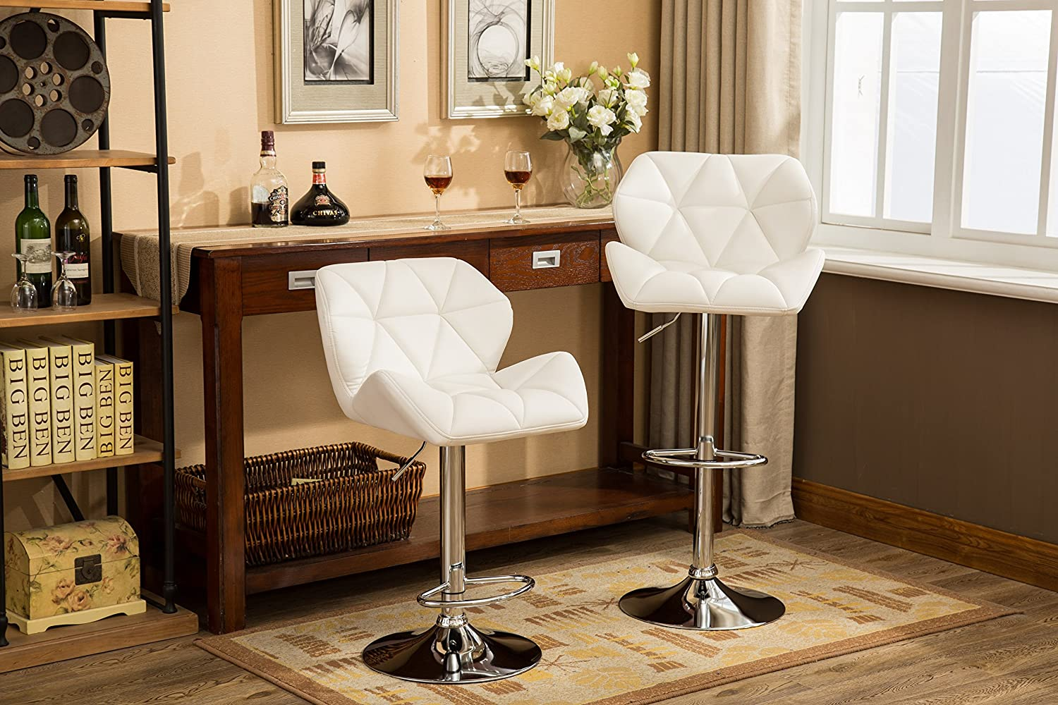 Roundhill Furniture PC190WH Glasgow Contemporary Tufted Adjustable Height Hydraulic White Bar Stools, Set of 2