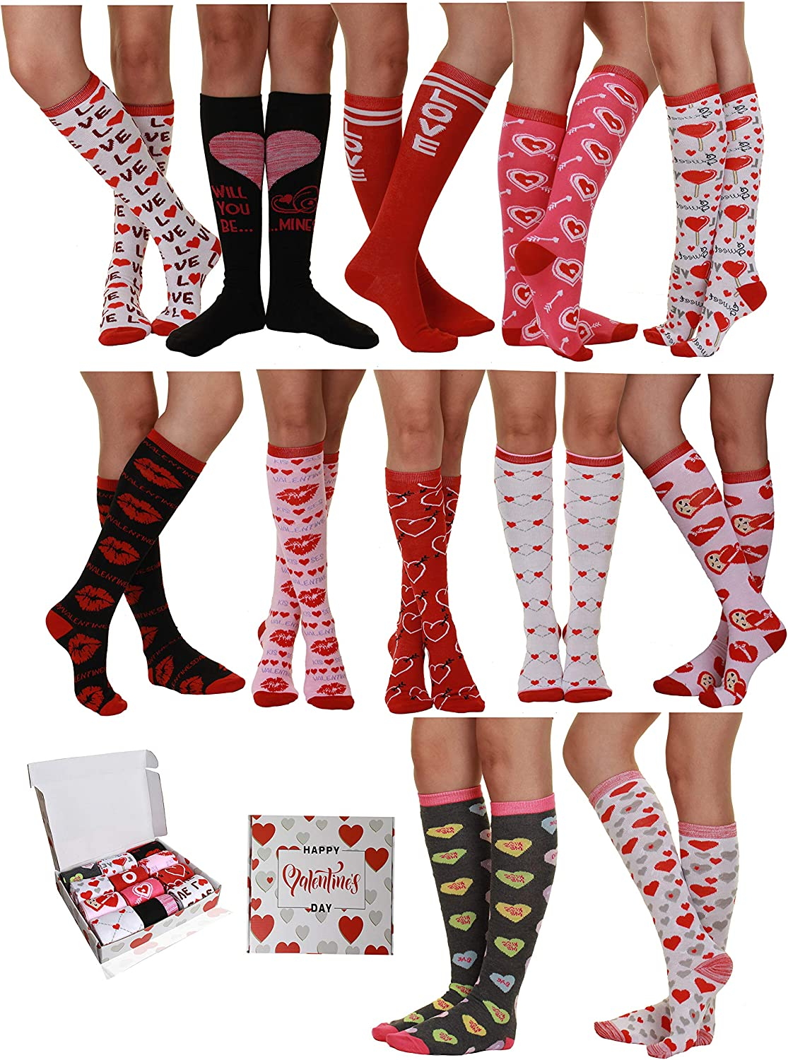 12 Pair Valentine'S Day Soft Crew Socks Xoxo Kiss Hug Love Prints, Women'S Size 9-11