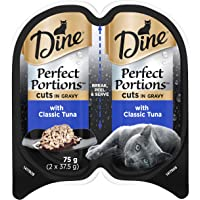 DINE Perfect Portions Wet Cat Food Tuna In Gravy 75g, Adult, 24 Pack, One Size