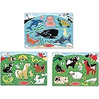 Melissa & Doug Animals Wooden Peg Puzzles Set - Farm, Pets, and Ocean