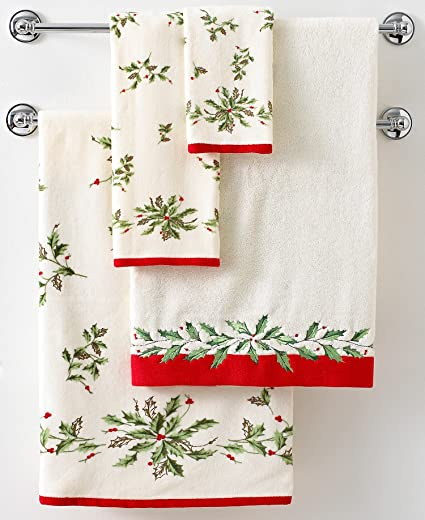 Lenox Holiday Holly Embroidered Christmas Towels Bath Hand And Fingertip Towel Set Of