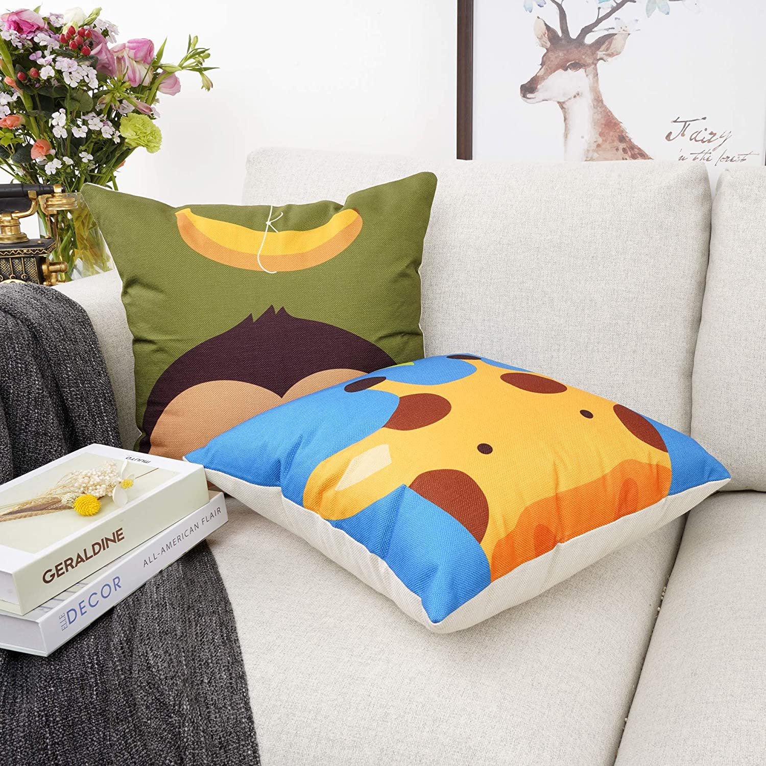 Kid Cute Cartoon Animal Print Back Cushion Covers Pillow Case Home Bedroom Decor