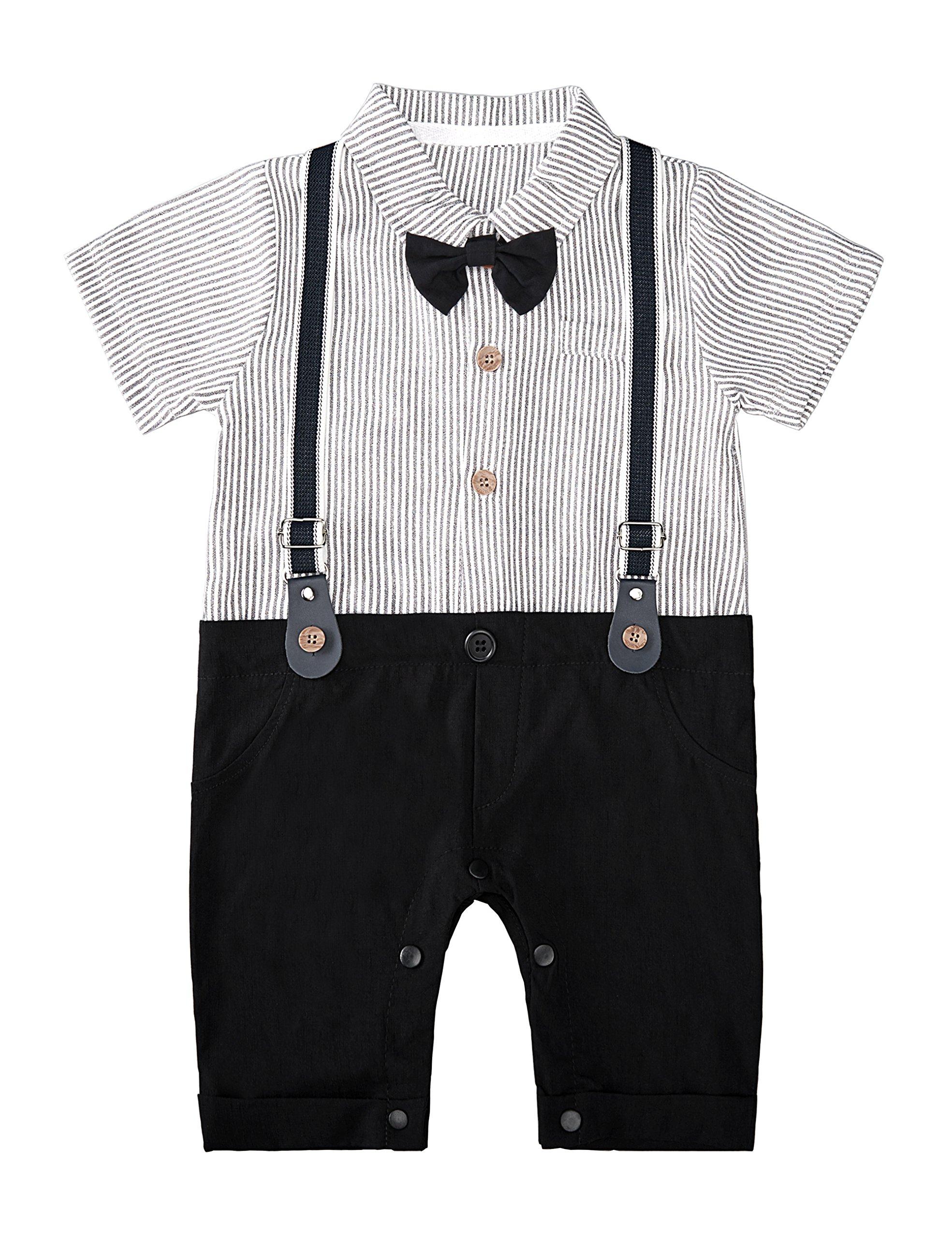 HeMa Island HMD Baby Boy Gentleman Black Stripe Shirt Bowtie Tuxedo Onesie Jumpsuit Overall Romper(0-18M) (Black, 60 (0-3 Months))