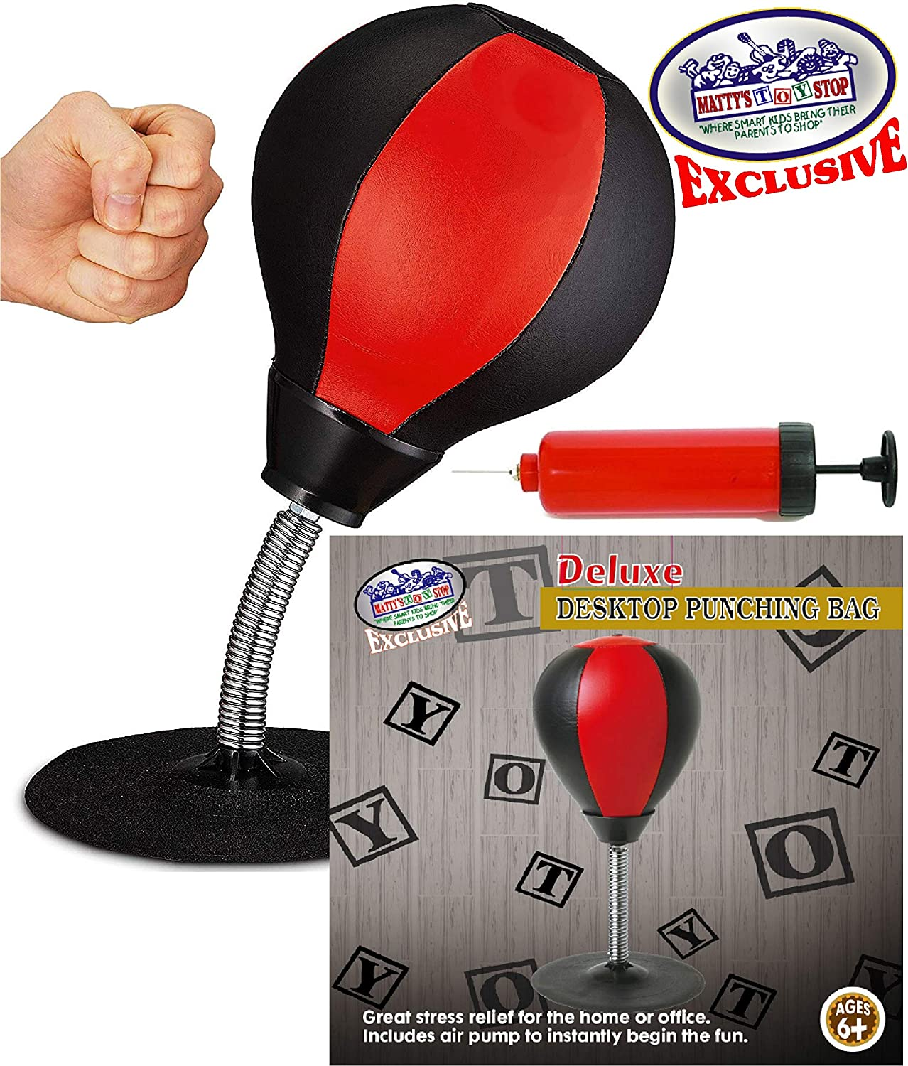 Matty's Toy Stop Desktop Punching Bag (Ball) with Air Pump, for Home or Office Stress Relief