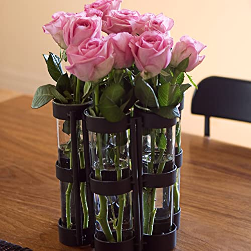 Danya B. QB280 Table Centerpiece – Large Metal and Glass Six-Tube Bud Flower Vase Set – Hinged for Variable Arrangement