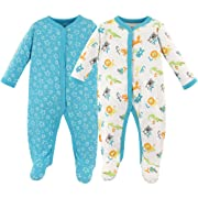 Luvable Friends Baby Cotton Snap Sleep and Play, ABCs 2 Pack, 3-6 Months (6M)
