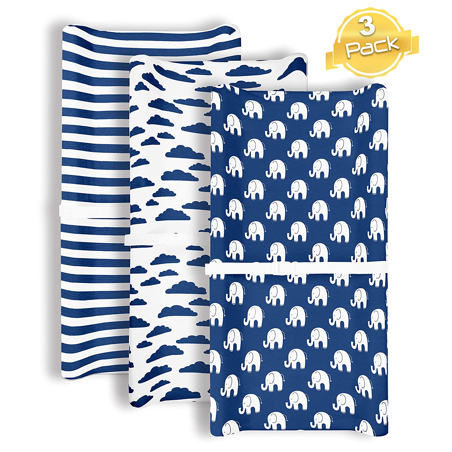 Changing Pad Cover   Navy Elephants