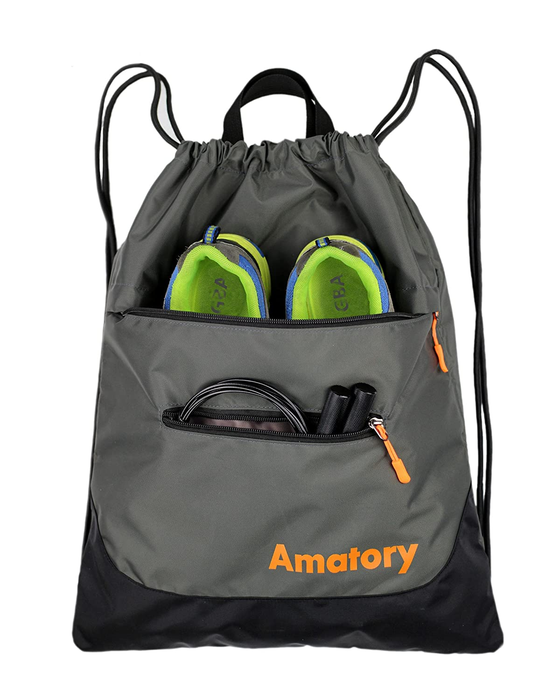 Drawstring Backpack Sports Gym String Bag Cinch Sack Gymsack Sackpack Waterproof US-1806-Black