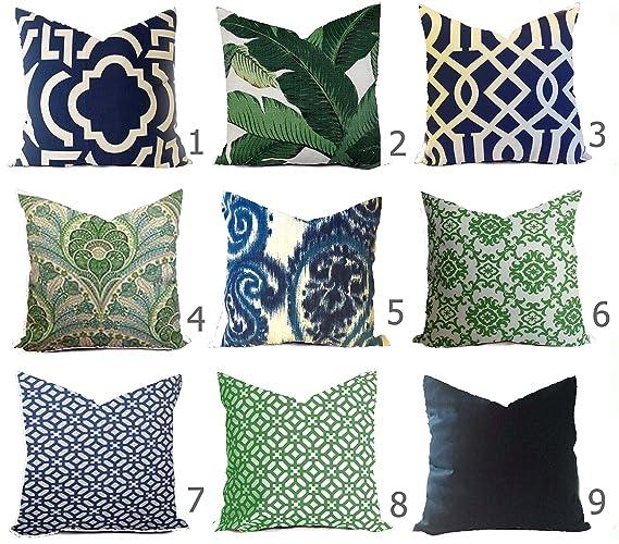 Amazon Com Outdoor Pillow Cover Navy Green Handmade