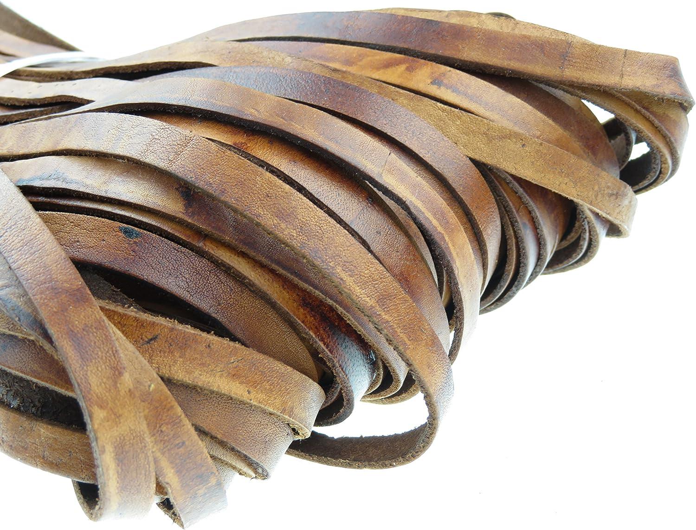 Esnado Correa de piel plana 10 mm x 2,5 mm. Marrón antiguo., Marrón envejecido, 5 m