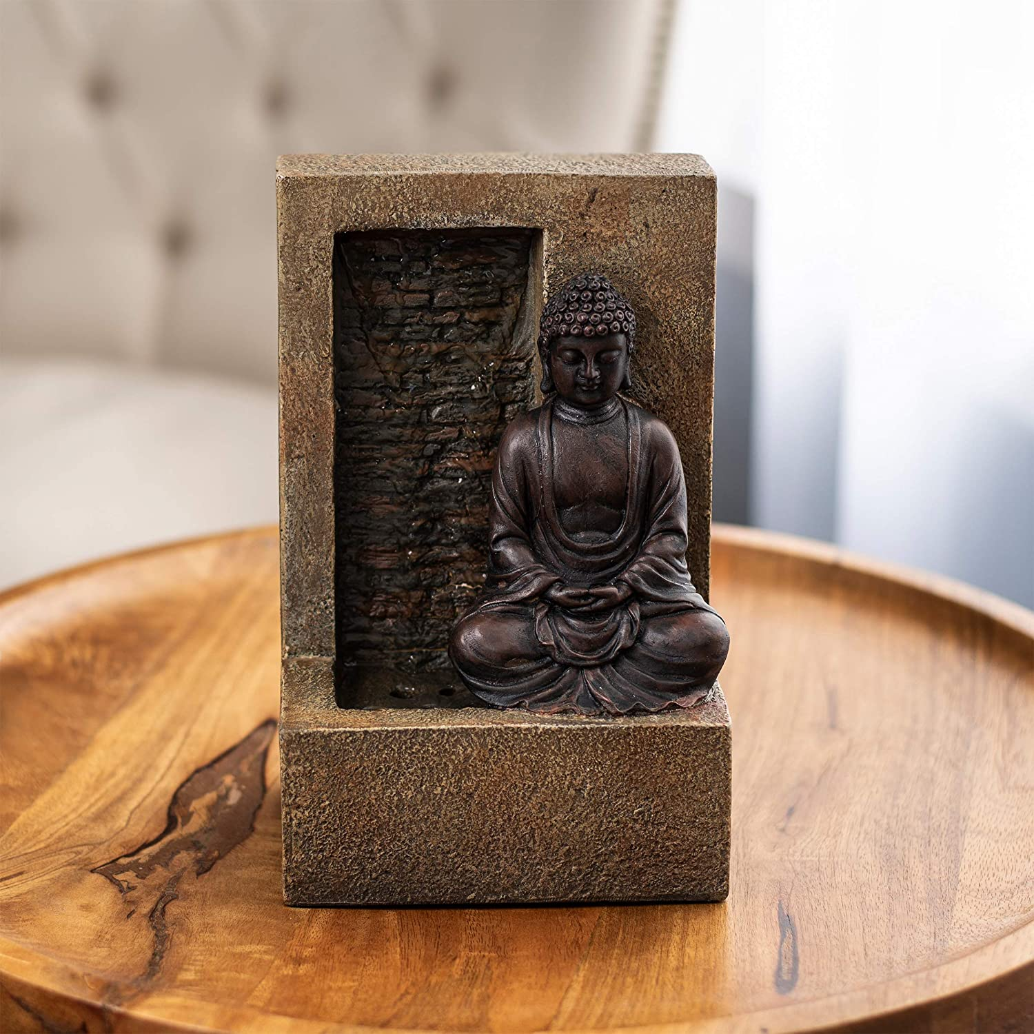 Pure Garden 50-LG5070 Tabletop Water Fountain-Sitting Buddha Statue by a Stone Wall Waterfall, Electric Pump & Soothing Sounds for Office and Home Décor