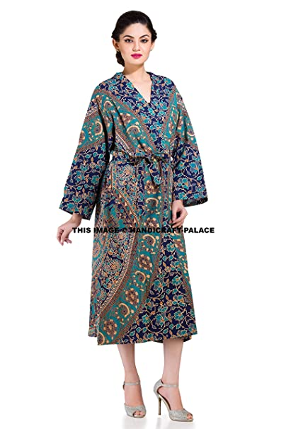 Womens 100 Cotton Kimono Robe Elephant Mandala Indian Bath Robes