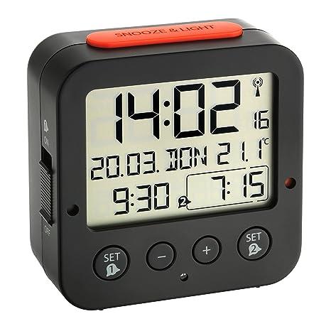 TFA Dostmann 60.2528.01 Bingo Funk-Wecker, mit autom. Hintergrundbeleuchtung, Datum, Temperaturanzeige und zwei Weckzeiten, s