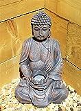 Grande 39cm Énergie solaire Bouddha Effet pierre Jardin extérieur intérieur Statue Ornement
