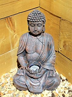 Buddha Statue Solar Light Garden Decor Ornament Outdoor Use 39cm by Lights4fun