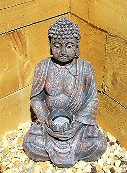 Grande Statue De Bouddha 39 Cm Energie Solaire Effet Pierre Pour
