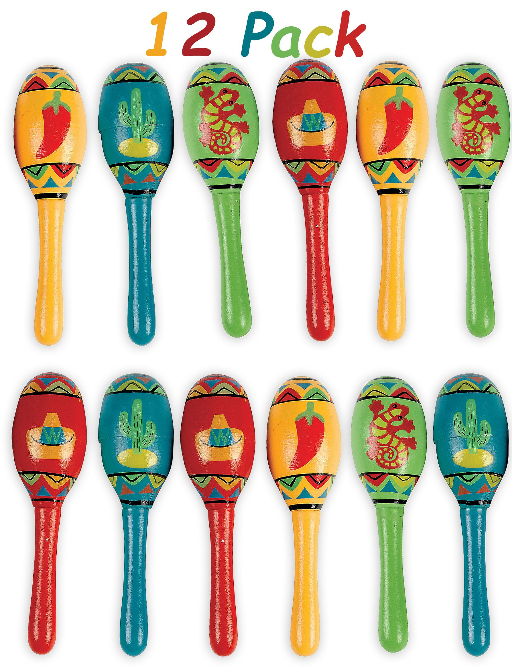 Mini Wooden Maracas Mexican Fiesta Cinco de Mayo Party Favor, Great for Decorations, Noisemaker Toys, 4 Different Styles, Bright Colors, Pack of 12, 5'' For Kids, Boys, Girls, By 4E's Novelty