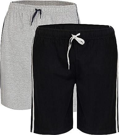 2 Unidades De Pantalones Cortos De Algodon Para Hombre Con Cintura Elastica Super Suave Y Comodo Pijama Ropa De Dormir Pijama Ropa De Dormir Negro Gris Xxl Amazon Es Ropa Y Accesorios