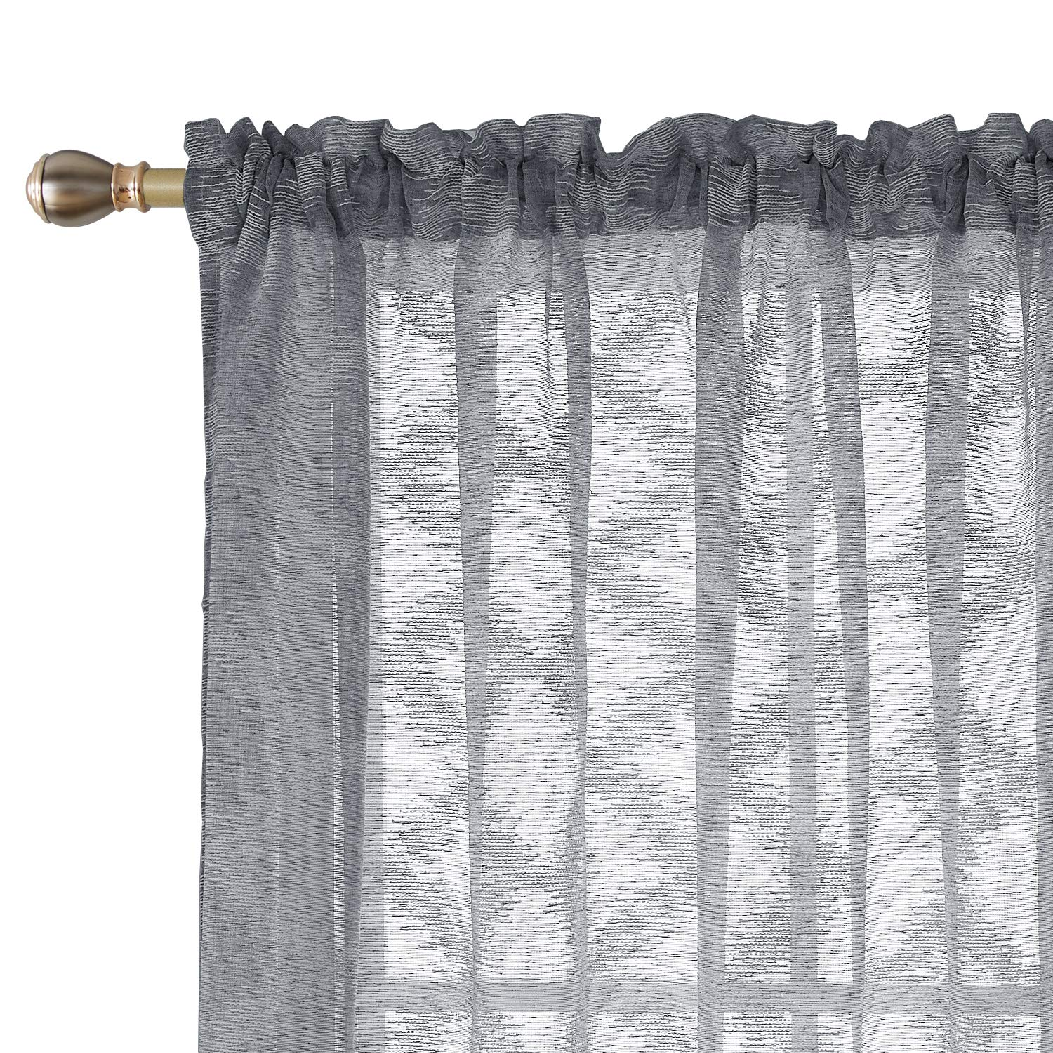 Deconovo Grey Sheer Curtains Rhombus Embroidered Semi Sheer Curtrain Rod Pocket Drapes for Bed Room 2 Panels 52 x 45 inch Grey