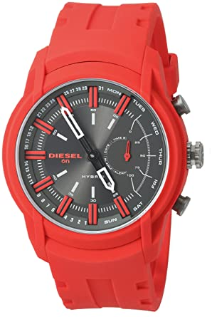 Diesel Mens Armbar Hybrid Quartz Rubber and Silicone Smart Watch, Color Red (