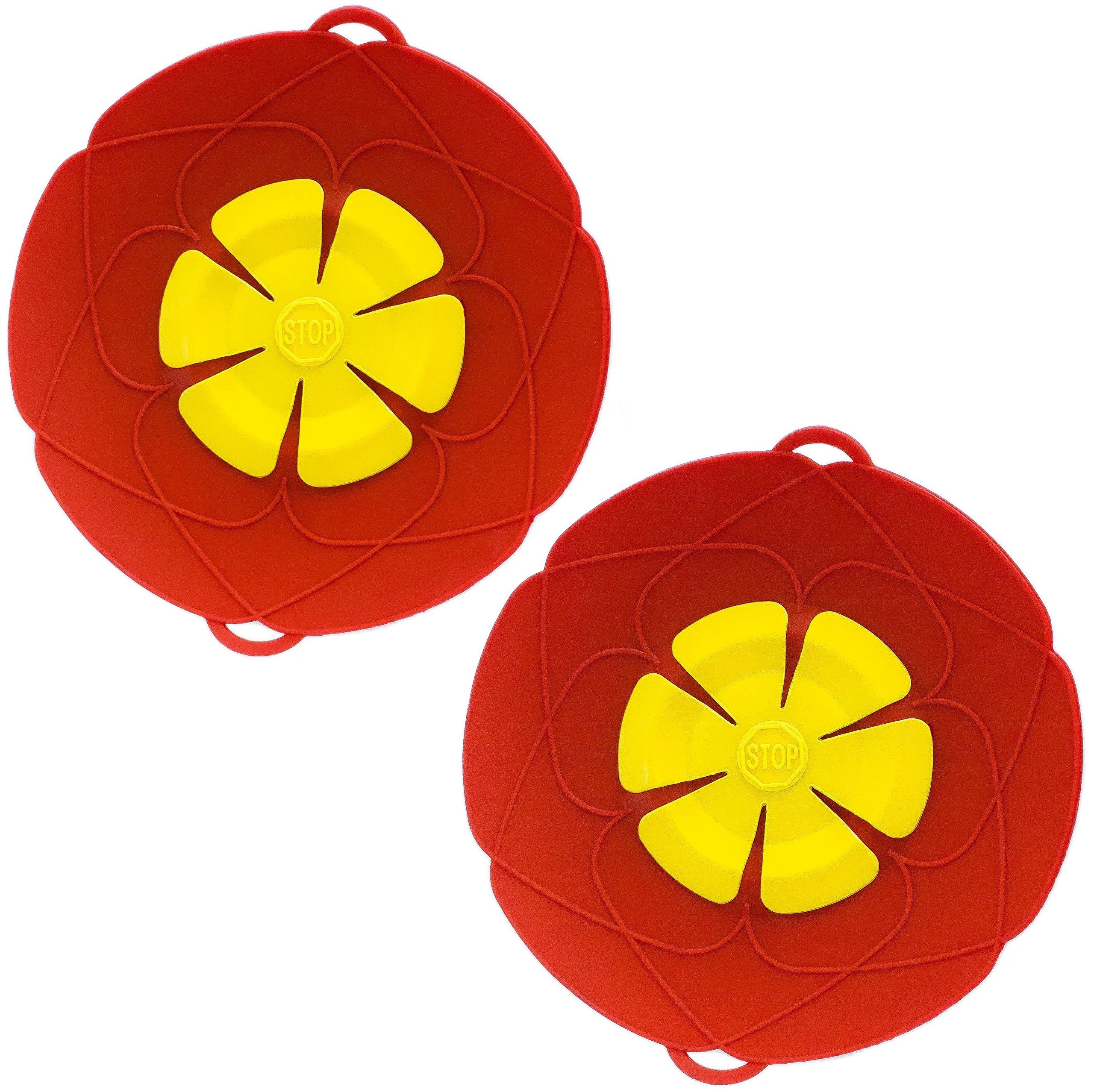 PureGenius Spill Stopper X 2, 10.2-Inch Silicone Lid for Pots And Pans, Boil-Over Stopper, Boil Safeguard, Multipurpose Kitchen Tool. (2, Red)