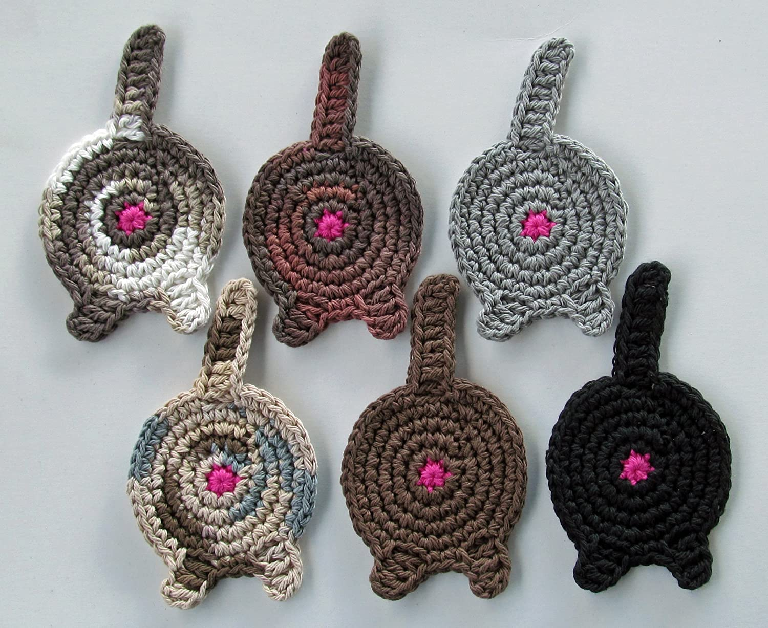 Cat Butt Coasters, Set of 6, Assorted Dark Colours