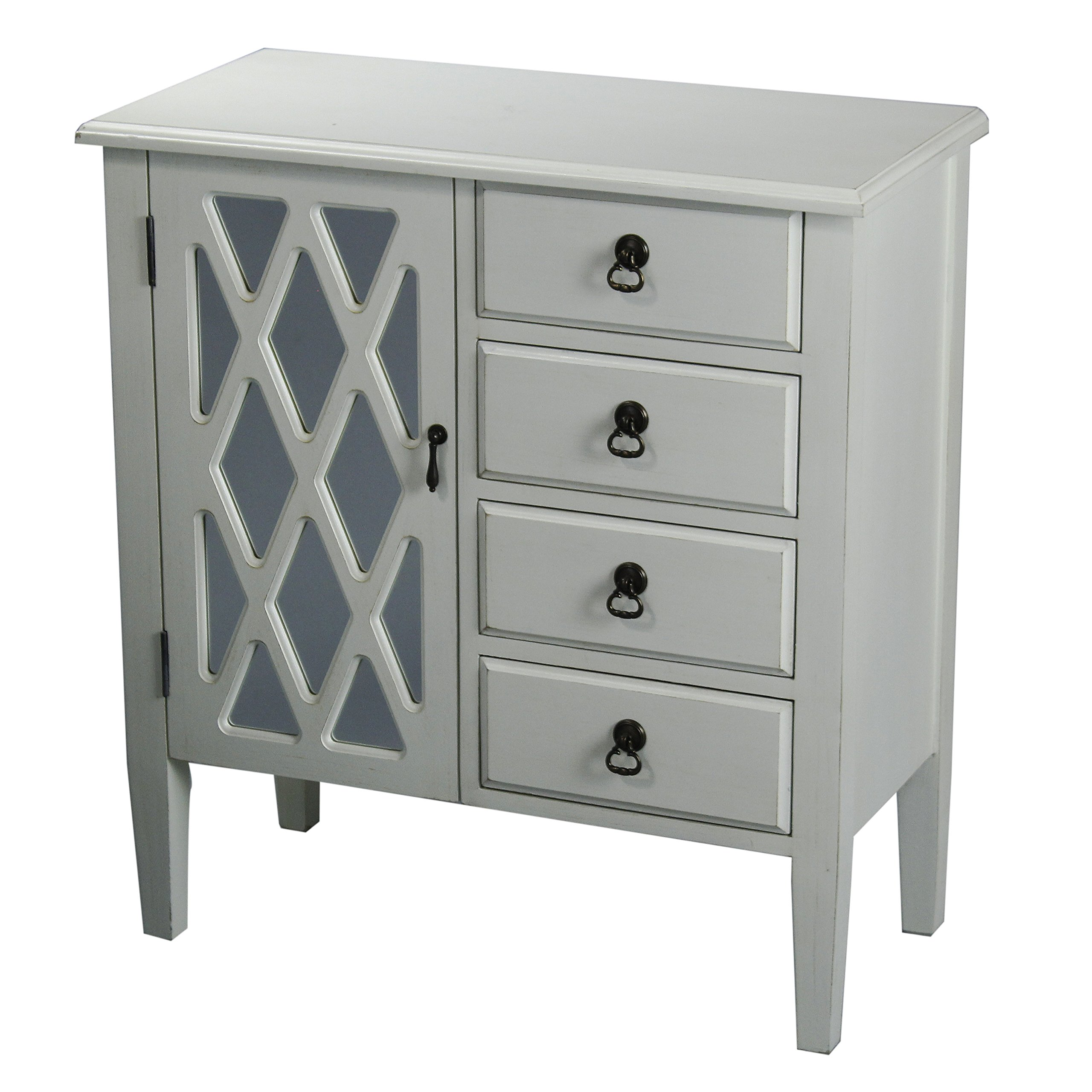 Heather Ann Creations 4 Drawer Wooden Accent Chest and Cabinet, Diamond Pattern Grille with Glass Backing, 32''H x 29.5''W, Antique White