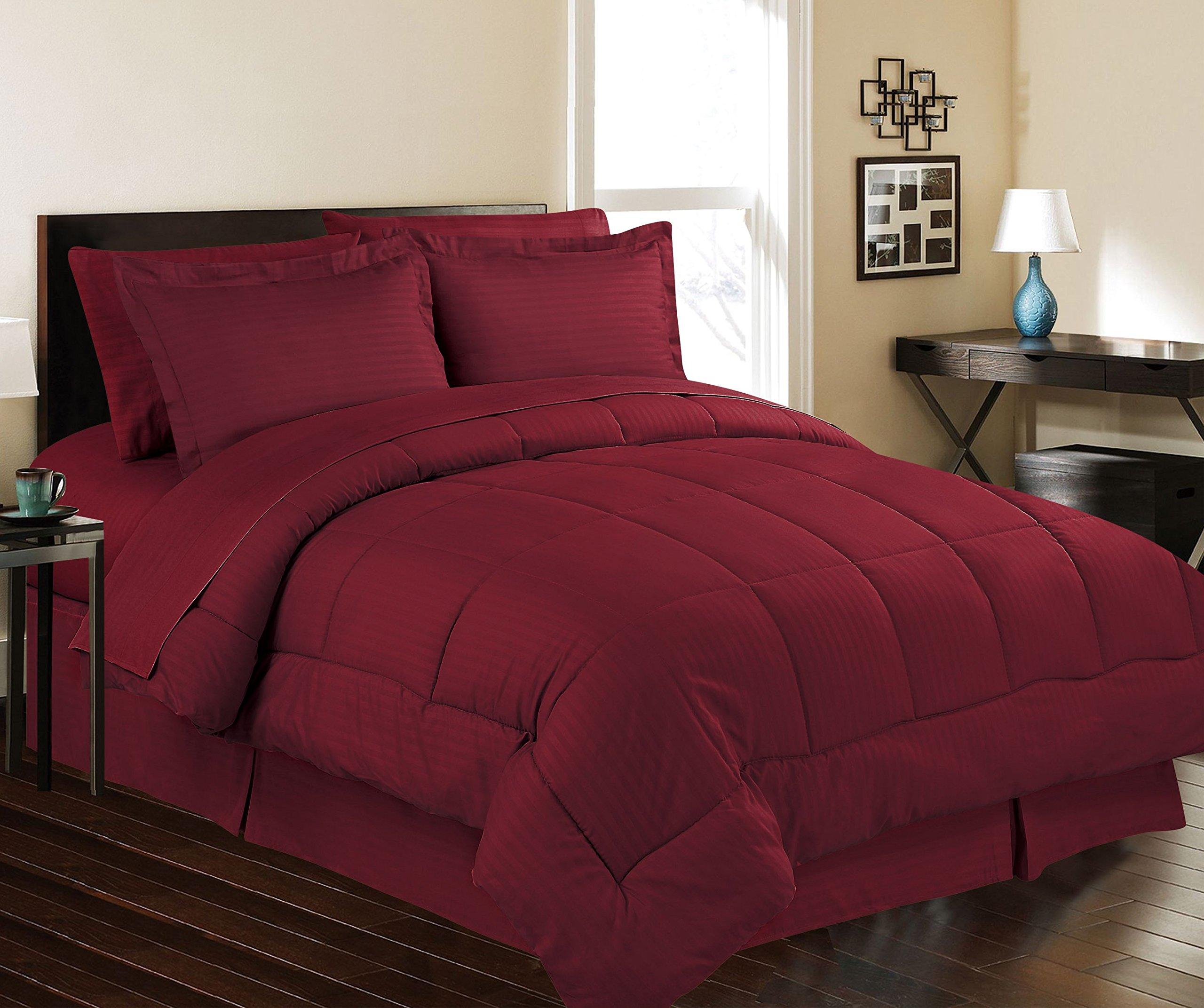 Décor&More Hotel Collection Queen Size 8 Piece Bed in a Bag Down Alternative Comforter Set - Burgundy