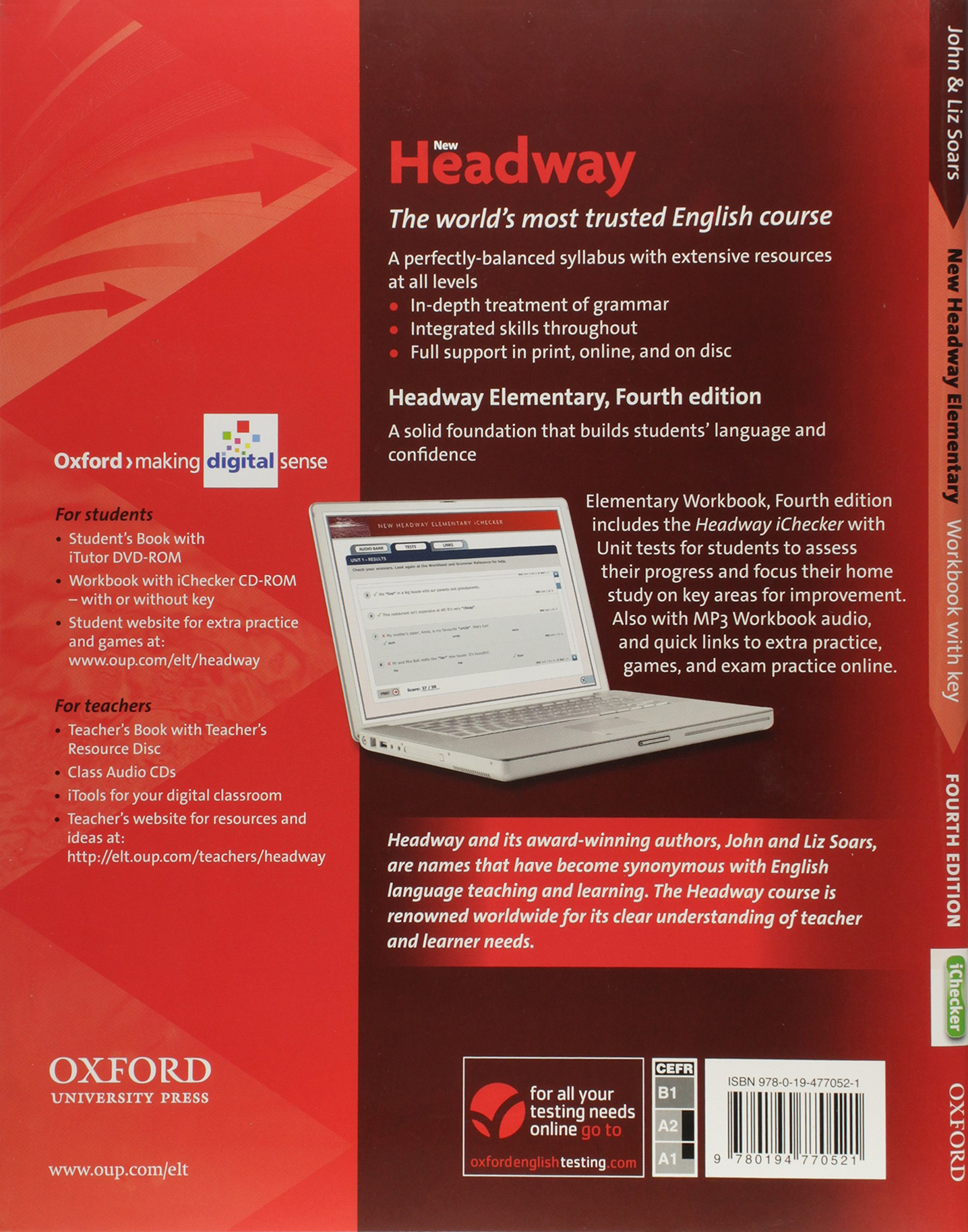 New Headway Elementary Workbook with Key & Ichecker CD-ROM Pack: S.A. de  C.V. Oxford University Press México: 9780194770521: Amazon.com: Books