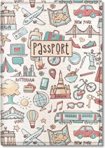 Quttie, Kids Vegan Eco Leather Passport Cover, Passport Holder (Light Travel Pattern)