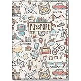 Cute Passport Cover for Children, by Govinda Crafts, Eco Leather Passport Holder (Light Travel Pattern)
