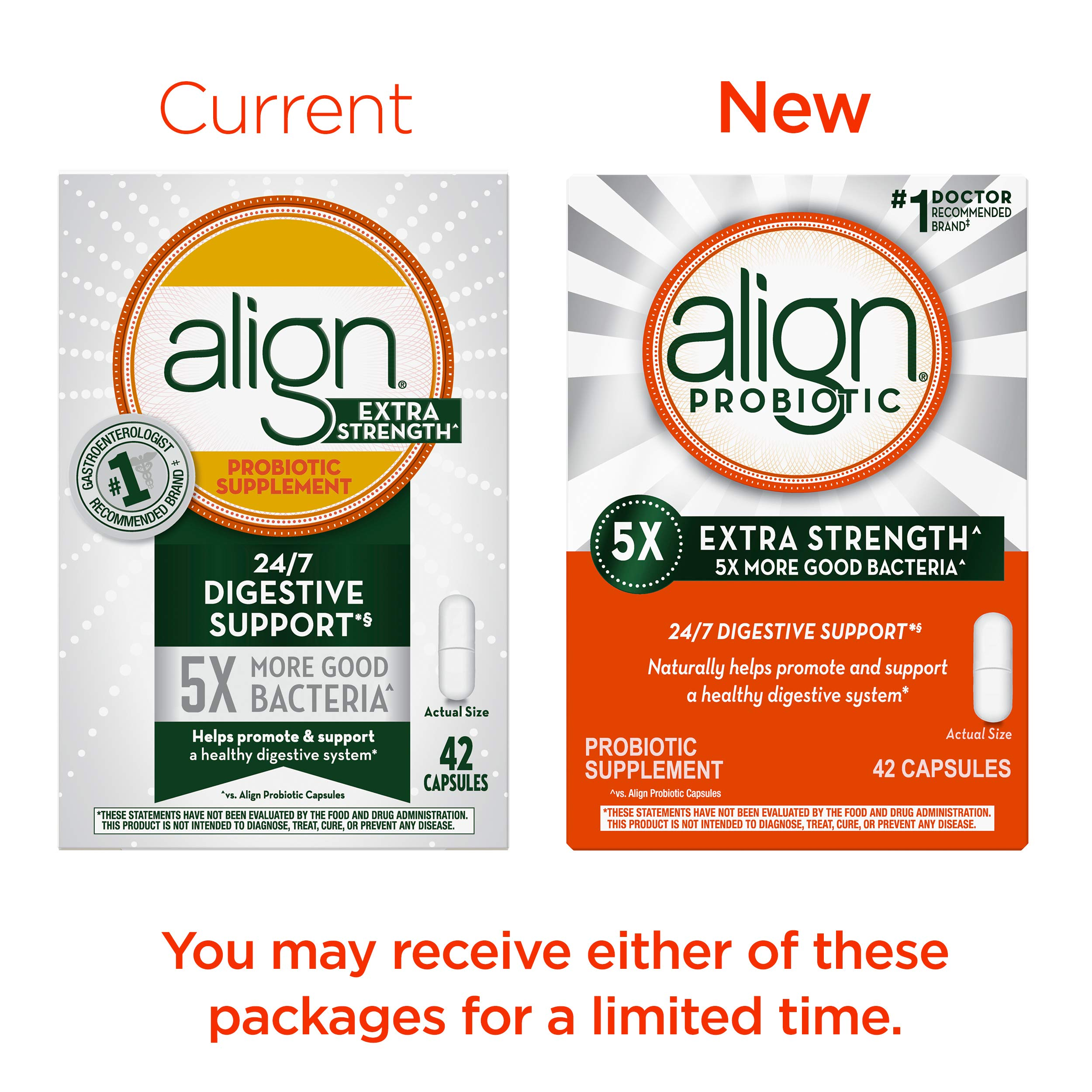 Align Extra Strength Probiotic, Probiotic Supplement for Digestive Health in Men and Women, 42 capsules, #1 Doctor Recommended Probiotics Brand(Packaging May Vary) by Align (Image #2)